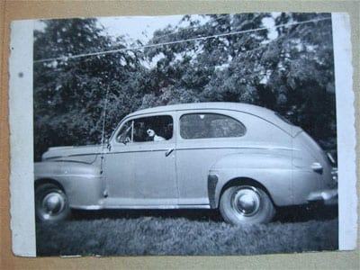 Joe gave the shirt off his back for his 1st car, a 1948 Ford 2-door sedan.