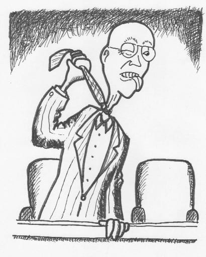 Top tactic for getting thrown off jury duty during voir dire. Cartoon by SWS.