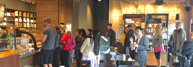 Customer Line Stretches Out Doorway.  Starbucks Upper Management Refuses To Allow Use of 2nd Cash Register.