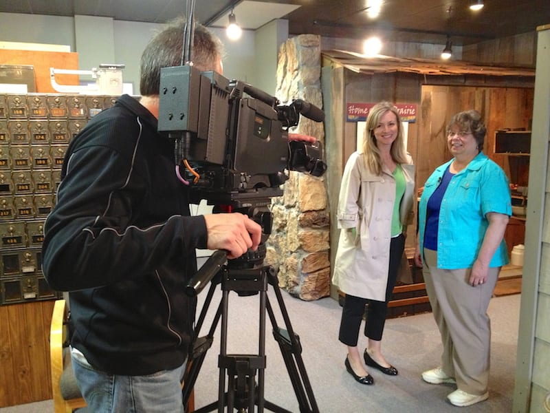 Behind the scenes for filming of Neighborhoods show.  L-R Ed Hauge - Executive Producer & Videographer, Sabrina Register - Producer & Host and Becky Huber, President - Lakewood Historical Society.