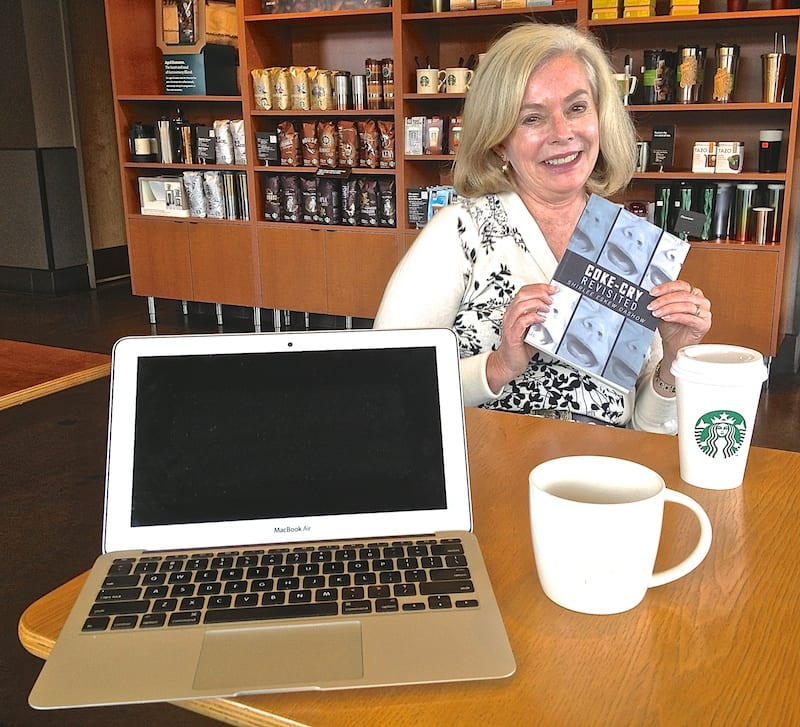 Actual scene from Joe Boyle's creative work environment during interview of local author, Shirlee Eskew Dashow, with her new book, Coke-Cry Revisited.