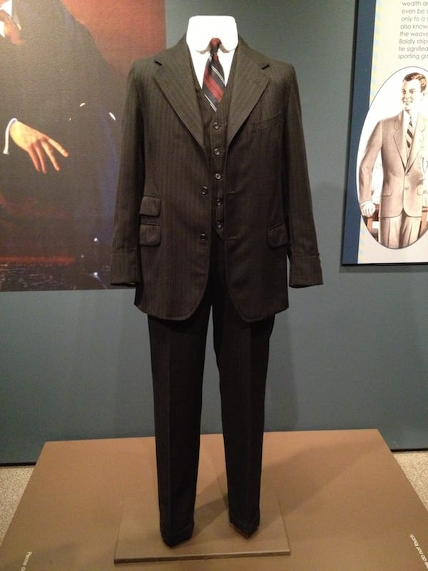 Popular style man's suit.  The quality of the material and tailoring was an indicator as to what class the man belonged to; servant or aristocrat.