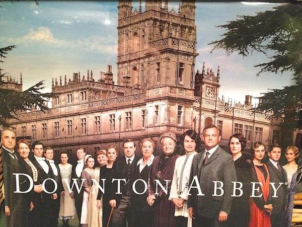 Downton Abbey cast in front of the Crawley Estate.