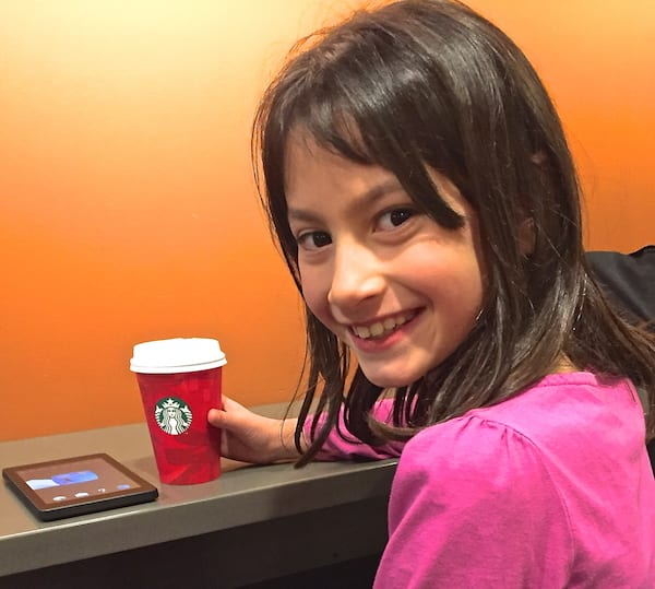 Morgan, hanging out at Starbucks with her dad, is obviously socially mobile and ready to find a story idea.