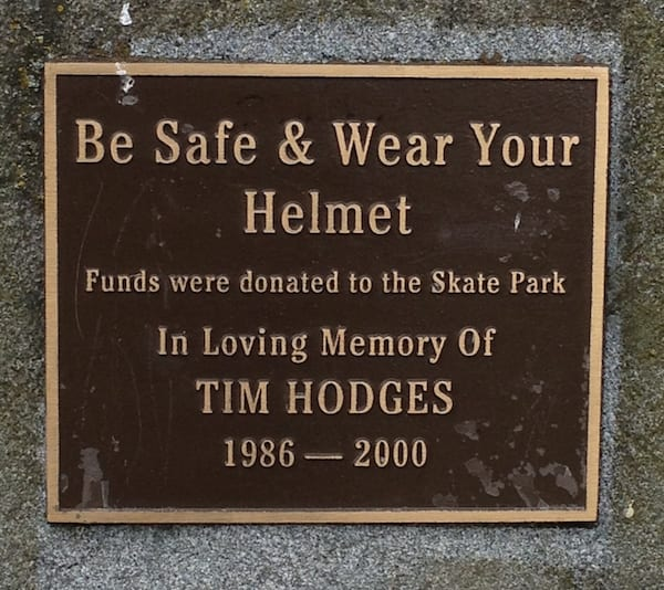 Donation plaque in memory of Tim Hodges.