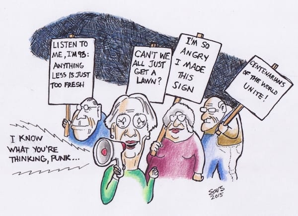 WCADPGG, (West Coast Age Discrimination Protest Golf Group). Cartoon by SWS.