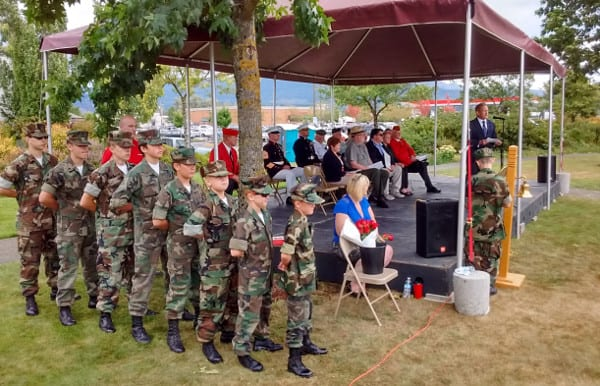 Carbon Glacier Young Marines in formation prior to annual Rock Ceremony in Enumclaw