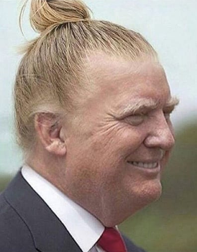 In an effort to appeal to women voters, Republican presidential candidate Donald Trump sports a head-bun hairstyle. Mr. Trump's tight bun actually changes his facial expression from his standard killer scowl to a sneaky Eddie Haskell smile.